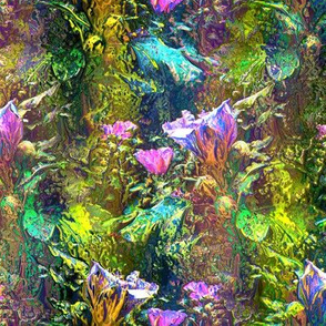 GREEN GOLD PINK  DREAMY FLOWERY FAIRY FOREST