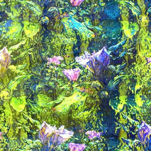 LIME GREEN PINK INDIGO DREAMY FLOWERY FAIRY FOREST STRIPES
