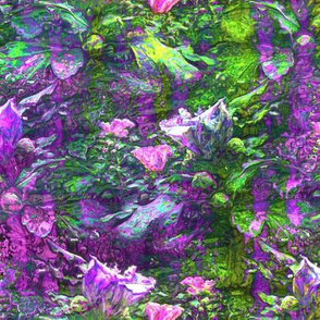 PURPLE GREEN GRID DREAMY FLOWERY FAIRY FOREST