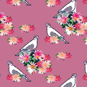 Birds and Flowers Rose Pink Upholstery Fabric
