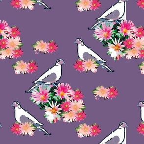 Birds and Flowers Orchid Purple Upholstery Fabric