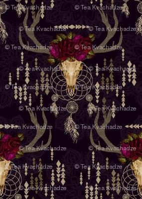 bohemian Floral deer skull