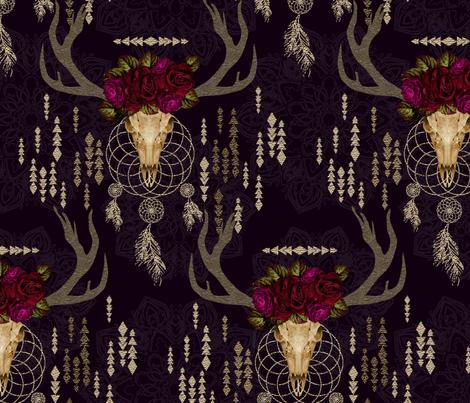 bohemian Floral deer skull fabric by teart on Spoonflower - custom fabric