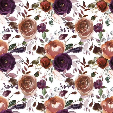 Boho Plum Florals on White fabric by hipkiddesigns on Spoonflower - custom fabric