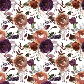 Boho Plum Florals on White