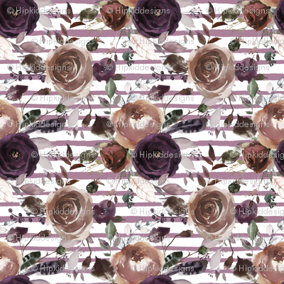 Plum and Butterum Florals on Soft Purple Stripes