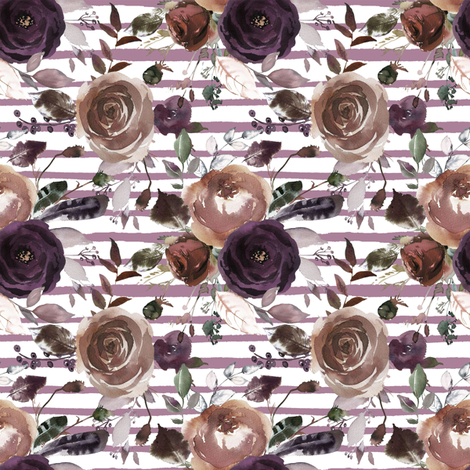 Plum and Butterum Florals on Soft Purple Stripes fabric by hipkiddesigns on Spoonflower - custom fabric