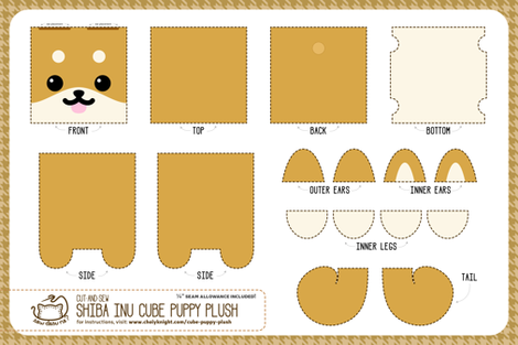 Cut & Sew Shiba Inu Puppy Cube Plush fabric by sewdesune on Spoonflower - custom fabric