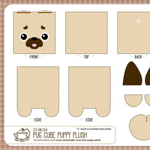 Cut & Sew Pug Cube Puppy Plush