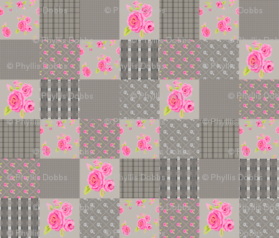 Pink Roses Floral Plaid Gray Wholecloth Quilt Top
