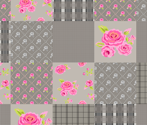 Pink Roses Floral Plaid Gray Wholecloth Quilt Top fabric by phyllisdobbs on Spoonflower - custom fabric