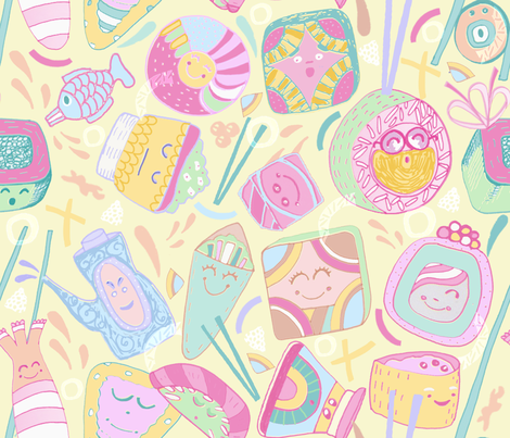 Sociable Sushi fabric by slumbermonkey on Spoonflower - custom fabric