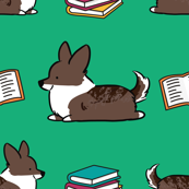 Bookworm Brindle Corgi (Green BG)