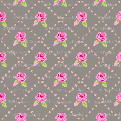 Small Pink Roses on Gray Diagonal