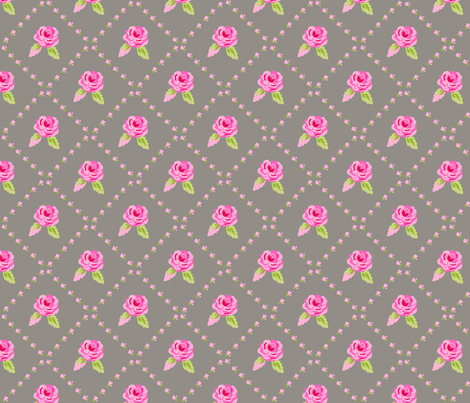 Small Pink Roses on Gray Diagonal fabric by phyllisdobbs on Spoonflower - custom fabric