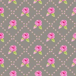 Small Pink Roses on Gray Diagonal