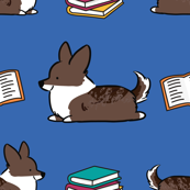 Bookworm Brindle Corgi (Blue BG)