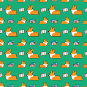 Bookworm Red Pembroke Corgi (Green BG)