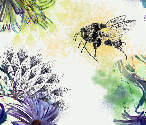 pointalism_bees_n_blooms fabric by maria_makes_flowers on Spoonflower - custom fabric
