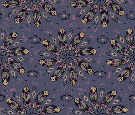 Bohemian Feathers fabric by robyriker on Spoonflower - custom fabric