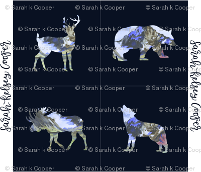 Navy Watercolor Woodland Creatures (Yard Size)