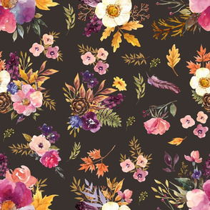 """18"""" Fall Friends Floral - Brown"""
