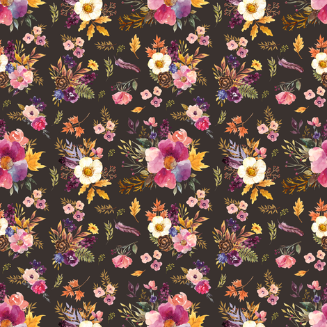 "4"" Fall Friends Floral - Brown fabric by shopcabin on Spoonflower - custom fabric"