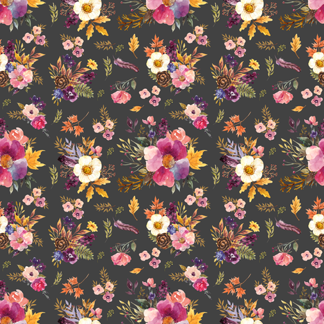 "4"" Fall Friends Floral - Charcoal fabric by shopcabin on Spoonflower - custom fabric"