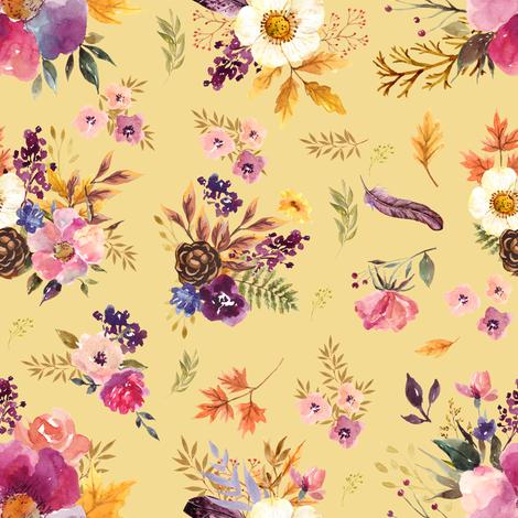 "8"" Fall Friends Floral - Dark Mustard fabric by shopcabin on Spoonflower - custom fabric"