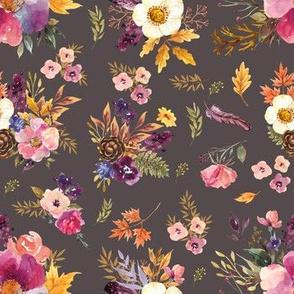 "7"" Fall Friends Floral - Light Brown"
