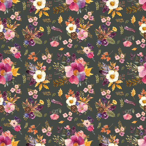 "4"" Fall Friends Floral - Olive fabric by shopcabin on Spoonflower - custom fabric"