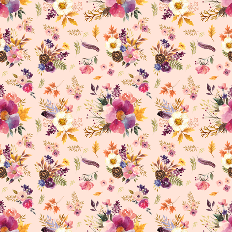 "4"" Fall Friends Floral - Peach fabric by shopcabin on Spoonflower - custom fabric"
