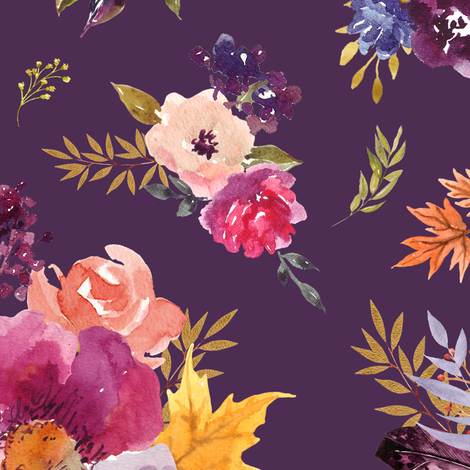 "18"" Fall Friends Floral - Purple fabric by shopcabin on Spoonflower - custom fabric"