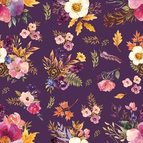 "7"" Fall Friends Floral - Purple"