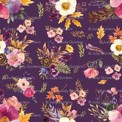"4"" Fall Friends Floral - Purple"