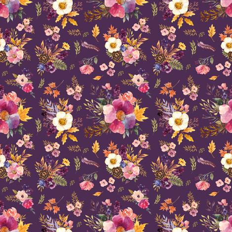 "4"" Fall Friends Floral - Purple fabric by shopcabin on Spoonflower - custom fabric"