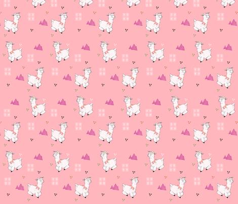Alpacas on Rose Pink fabric by noeldraws on Spoonflower - custom fabric
