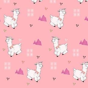 Alpacas on Rose Pink