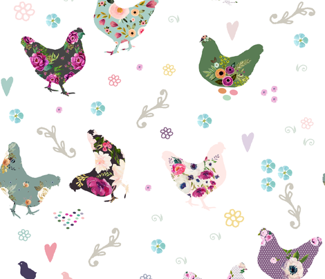 """21"""" Patchwork Hens fabric by shopcabin on Spoonflower - custom fabric"""