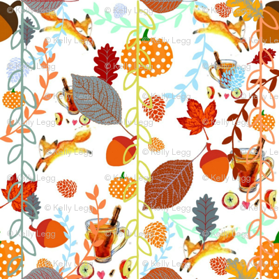 Pumpkins,Warm Cider, Cinnamon and Fall Foxes