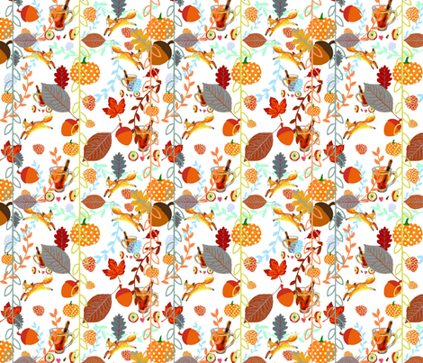 Pumpkins,Warm Cider, Cinnamon and Fall Foxes fabric by floramoon_designs on Spoonflower - custom fabric