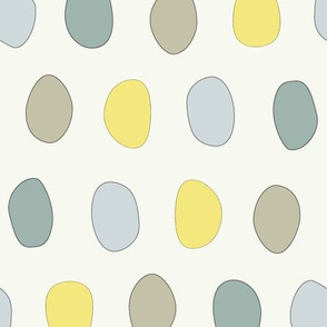 dots-stones in blue yellow teal gray