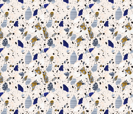 Cream Terrazzo pattern fabric by fossyboots on Spoonflower - custom fabric