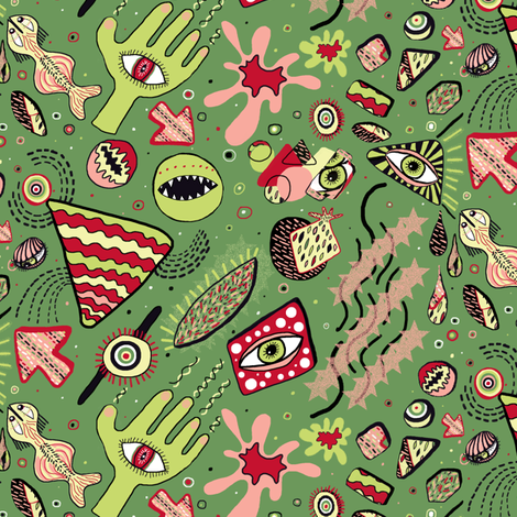 1980's Memphis Style, large scale, lime green red pink coral fabric by amy_g on Spoonflower - custom fabric