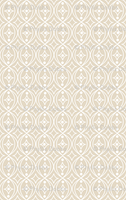 Beige Taupe White Geometric Scroll