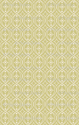 Olive Green Taupe Geometric Scroll