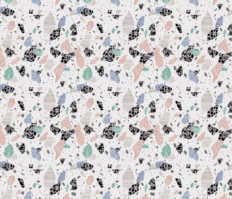 pink terrazzo pattern fabric by fossyboots on Spoonflower - custom fabric