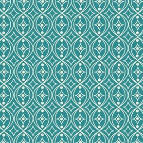 Turquoise Teal Green Taupe Geometric Scroll