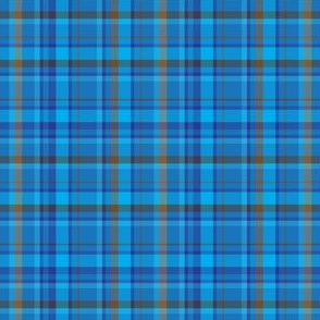 Solid Blue Brown Plaid