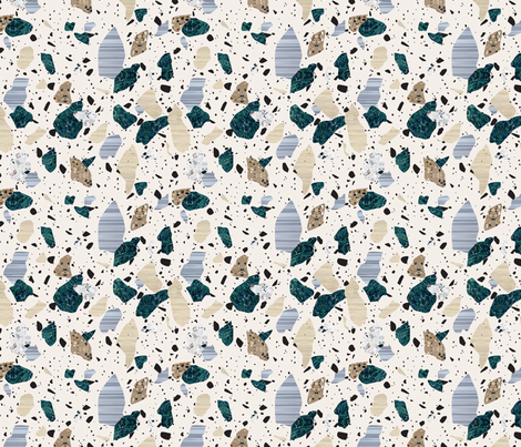 Green & Cream Terrazzo Pattern fabric by fossyboots on Spoonflower - custom fabric